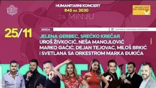 Humanitarni online koncert za malu Minju!